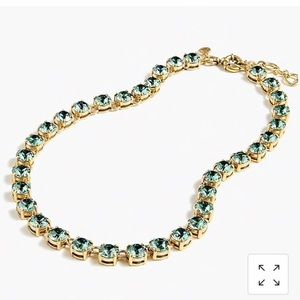 J Crew green Swarovski necklace NWT